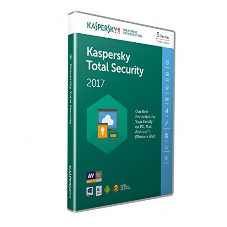 Kaspersky Software Kaspersky Total Security 2017 5 Devices 1 Year PC/Mac/Android Download KL1919UXEFS-7