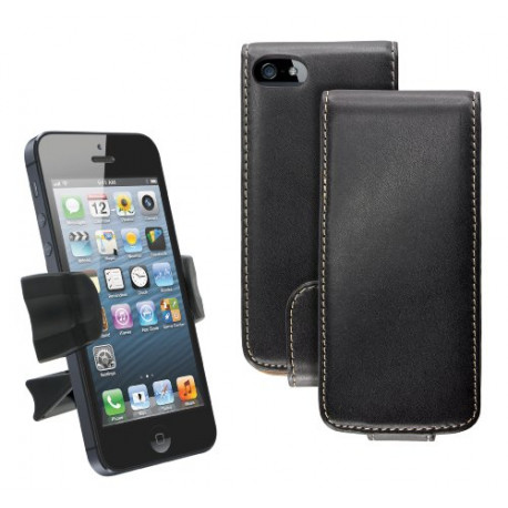 caseit iPhone 5/5S Starter Pack with pu Leather Flip Case Cover and Car Vent Mount Holder Black CSIP5FHOLPK