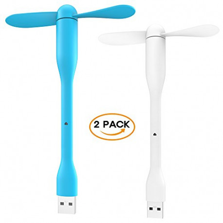 AERB 2 Pack Portable USB Powered Cooling Fan [Assorted Colors]