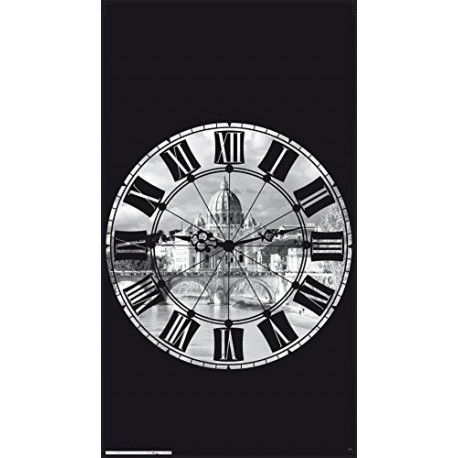 AG Design FCSL 7574 Horloge Verduisteringsgordijn 140x245cm (1 stuk: 140x245 CM) Kleurrijk 140x245cm FCSL7574