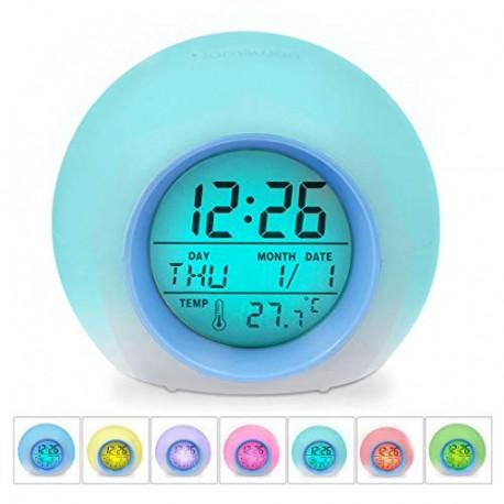 HAMSWAN JL-C018 7 Colors Changing Alarm Clock JL-C018-Blue-EU