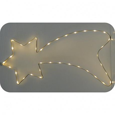 Best Season Silhouette Komet 50 warmweisse LEDs Metall Silber 1X65X30CM SA000026