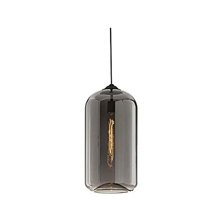 LOMT Glass Vintage Pendant Light Hanging Ceiling Light Black Cylinder 30-108-229A
