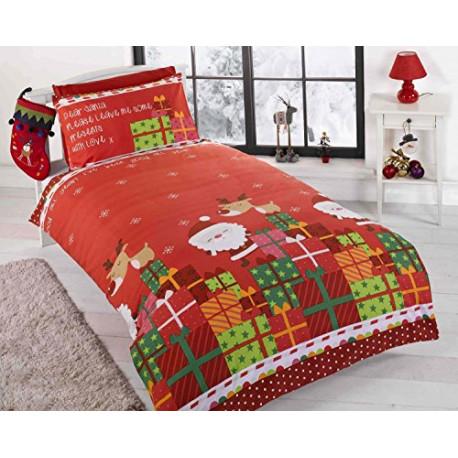 Rapport Christmas Kids Santa Claus Quilt Duvet Cover 2 Pillowcase Bedding Bed Set Double 12395618