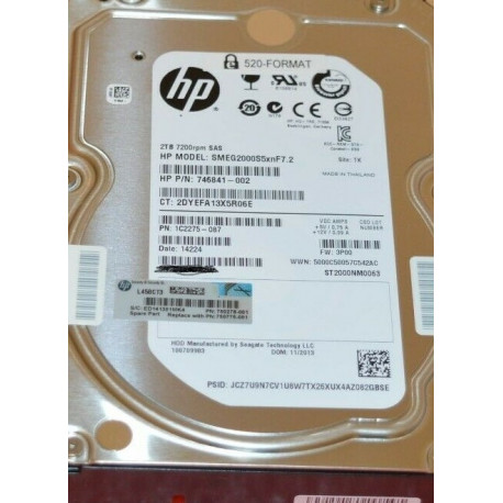 HP 2TB 7200RPM SAS 6GB/S Hot-Pluggable Dual Port sed 3.5-INCH Hard Drive 750775-001