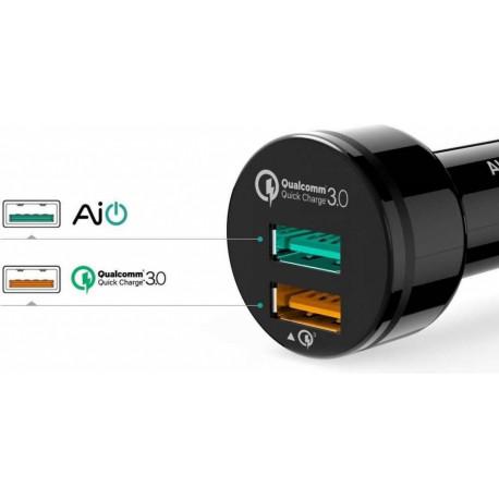 Aukey Autolader Dual USB 3,0A Zwart CC-T7