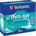 VERBATIM DVD-RW 4,7GB 4X P5 b.cristale 43285