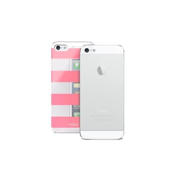 PURO Cover Strip F iPhone 5 Silver/Pink IPC5STRIPEPNK