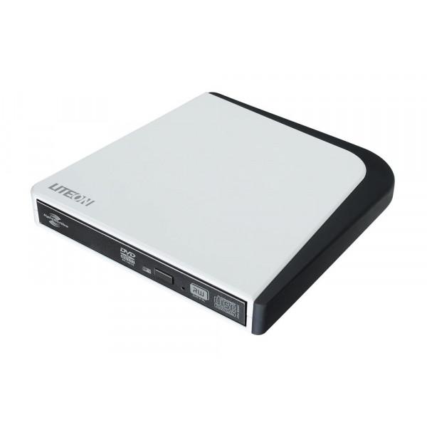 LITE-ON White External USB 2.0 DVD Drive ESAU208-6