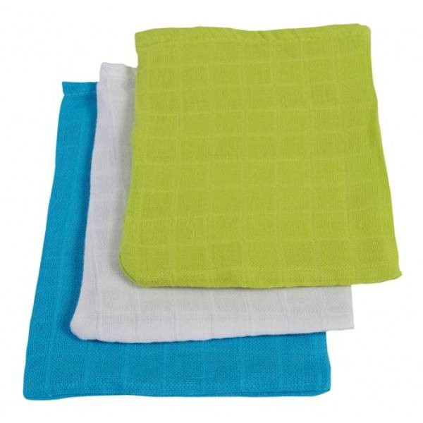 Jollein Hydrophilic washcloth (3PACK)-SOFT Lime/Aqua/white 536-848-64866