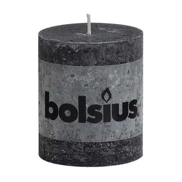 Bolsius Rustic pillar CANDLE-80/68-ANTHRACITE-1 piece 31-ANTHRACITE