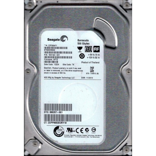 SEAGATE 500GB 7200RPM 3.5INCH SATA-6GBPS hard disk drive (Seagate drive from HP unit) 680207-001