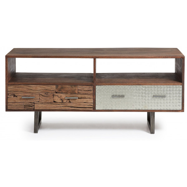 Laforma Loft TV furniture Mango wood 2 drawers loftmango
