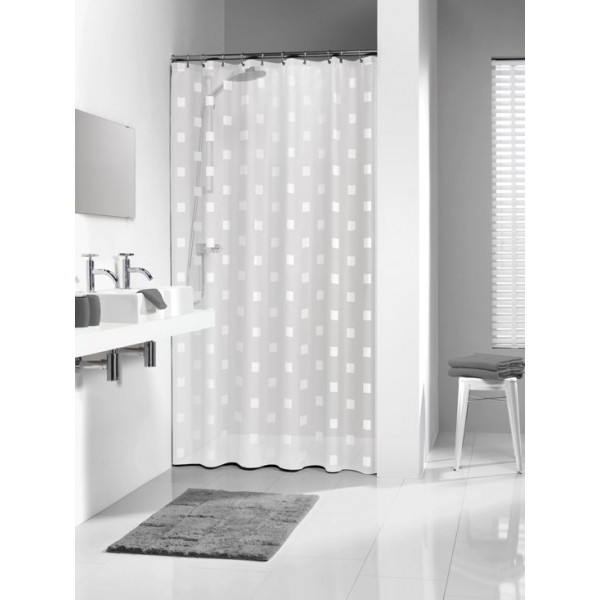 Sealskin Shadows Shower Curtain 180x200 cm White