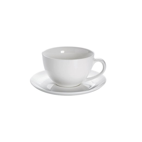 Maxwell and Williams White Basics Round Jumbo Cup AND Saucer 450 ML 18.5 x 18.5 x 9.5 cm