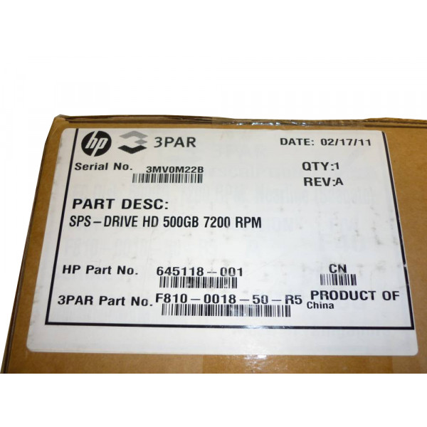 HP hard drive 500GB 7200 RPM fiber 645118-001